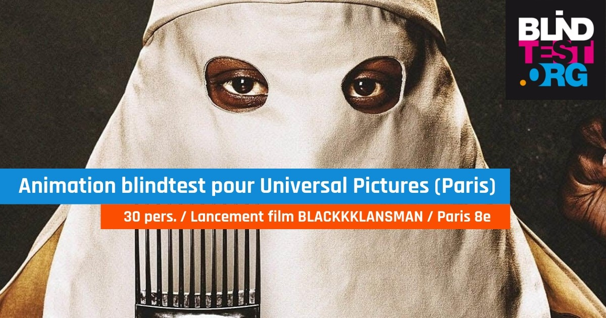 "Animation blind test pour Universal Pictures, lancement du film ""BLACKKKLANSMAN"""