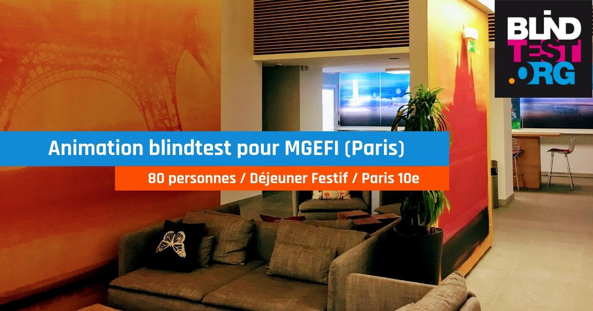 Animation blind test durant déjeuner festif pour Mgefi (80 pers. Paris)