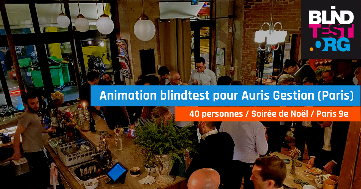 Animation BlindTest durant cocktail 40 personnes, pour Auris (Paris 9e)